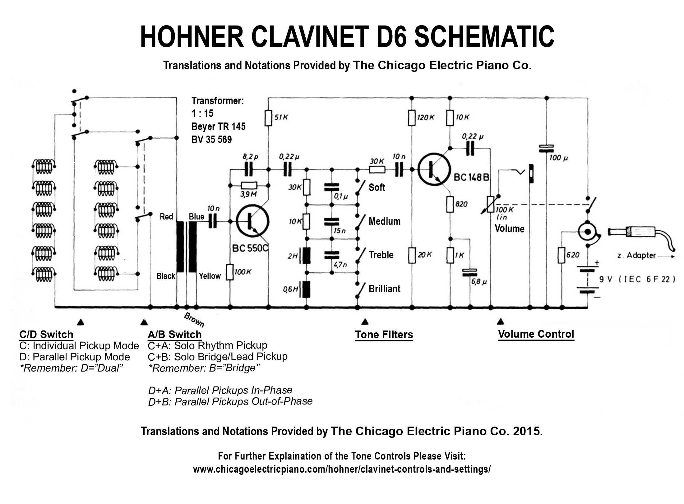 Wiring Diagram Archives The Chicago Electric Piano Co Squier Vm Surf Strat Clavinet D6 Schematic
