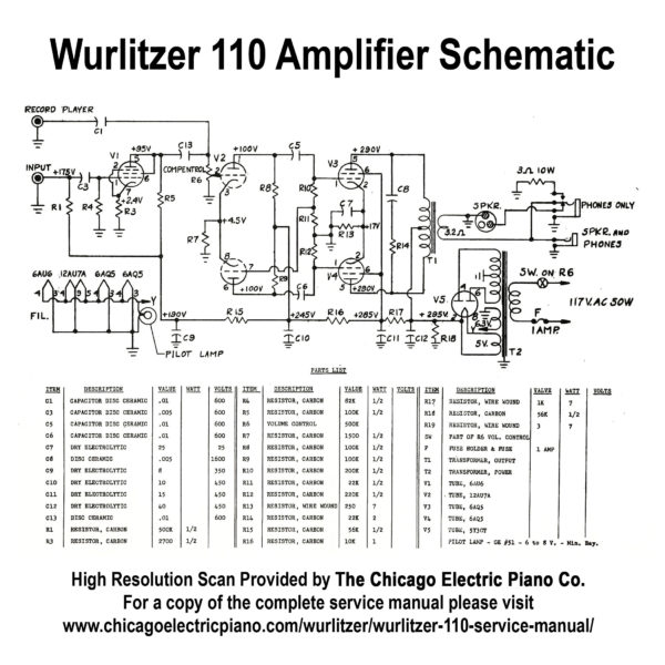 Wurlitzer Model 110 Amplifier Schematic