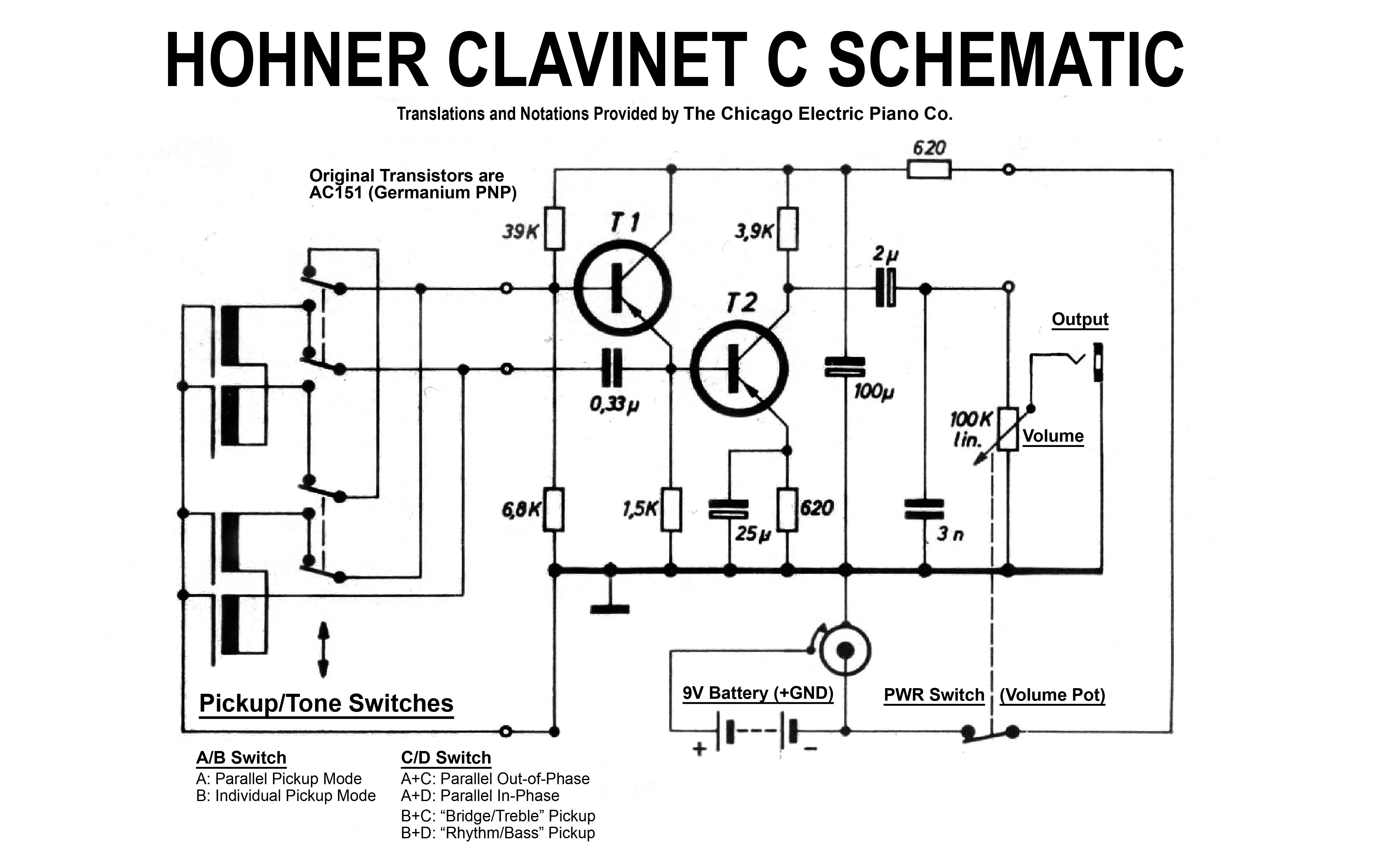 Hohner Clavinet C Schematic Tone Controls The Chicago Electric Piano Parts Diagram We Took A Little Time To Update For Include These Notes Those Who May Find Notations Useful
