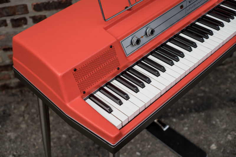 """Here's a glimpse at a Wurlitzer customization from earlier this summer. This """"Fiesta Red"""" Wurlitzer 200 was restored with our most """"top shelf"""" restoration ..."""